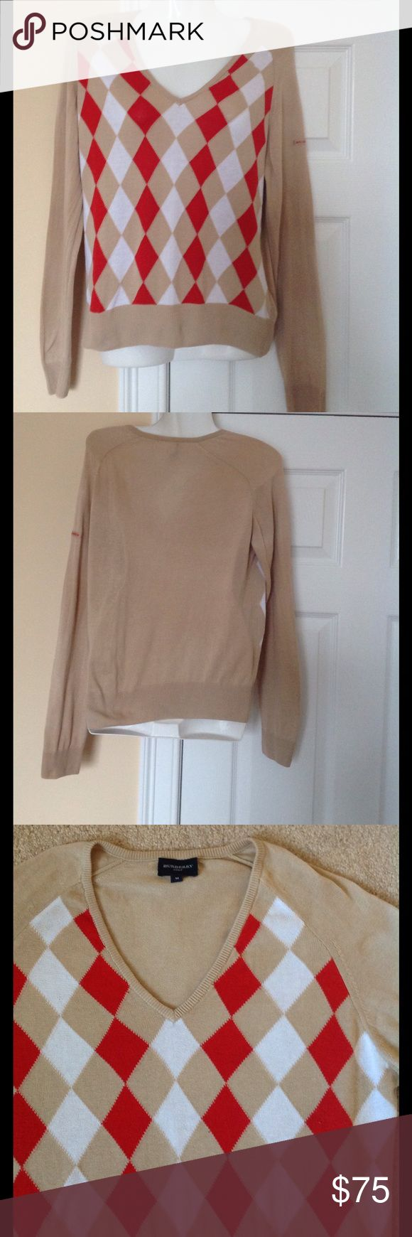 Burberry golf sweater size M In very good condition sweater by Burberry London, chest 18, sleeve 14, length 21 Burberry Sweaters V-Necks