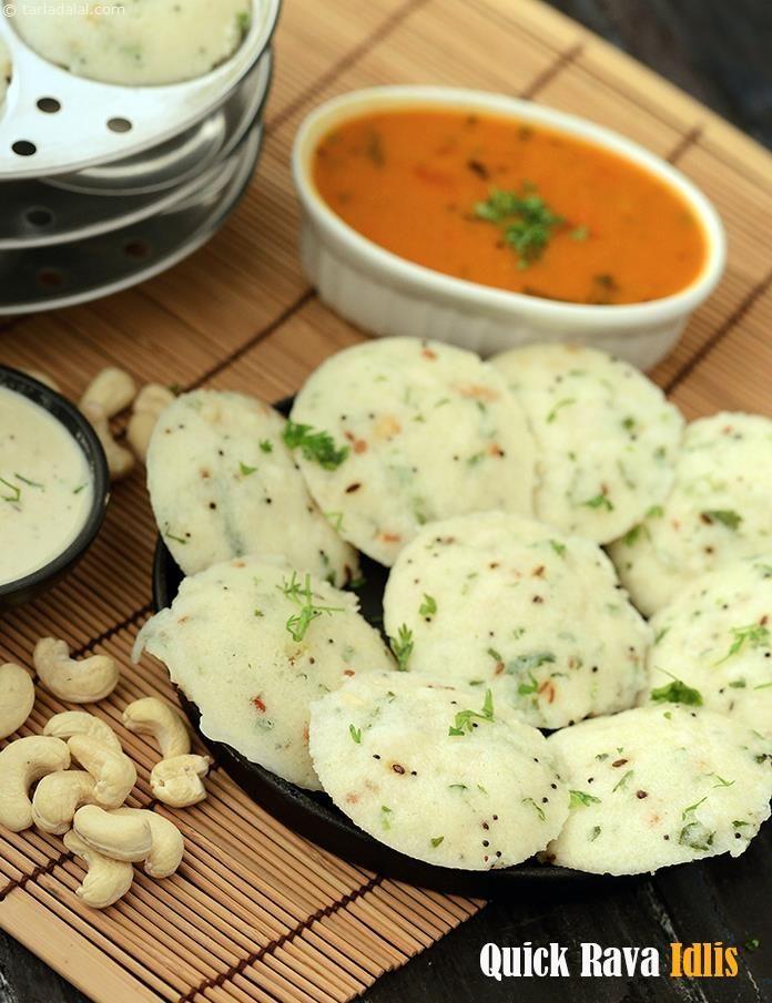 Quick Rava Idli recipe | Idli Recipes, Dosa Recipes | by Tarla Dalal | http://Tarladalal.com | #1707
