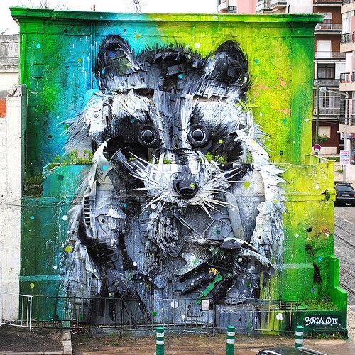 #streetart #portugal #lisbon #racoon #bordaloII #bordalo2 #scrapart #scrapmetal