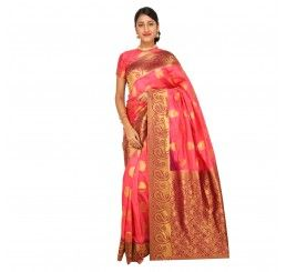 Zari work tusser silk saree in Pink