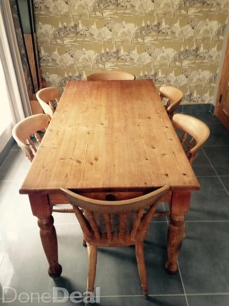 A Pine Table and 6 Chairs to match. It is solid pine and made by Gurteen. It is in great condition and is being sold due to recent house renovations! It is 6ft x 3ft. Would prefer to sell both the table and chairs together! Please call/txt anytime!#xtor=CS1-41-[share]