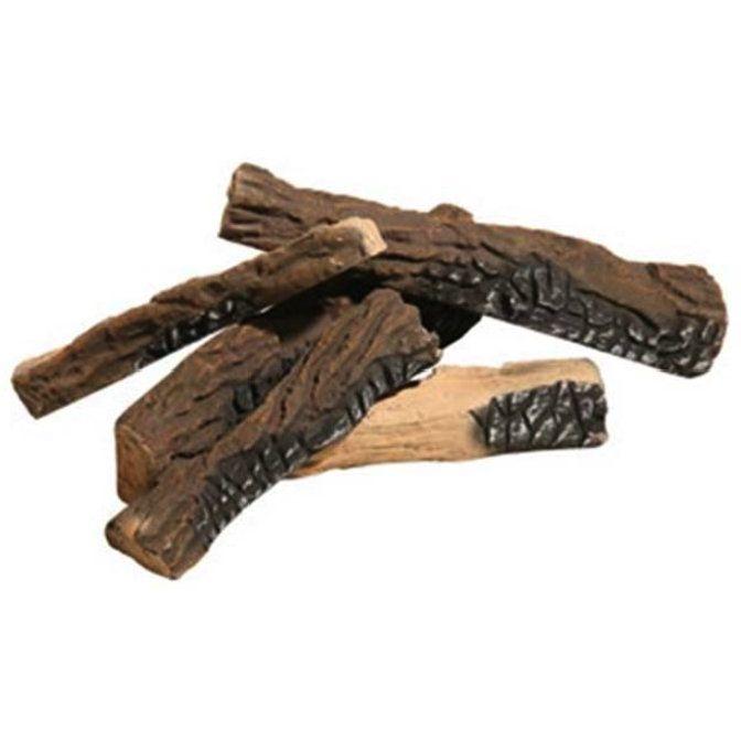 5 Piece Ceramic Fiber Propane Gel Ethanol or Gas Fireplace Log Set