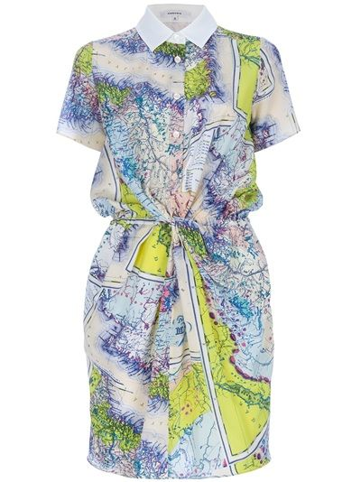 Tonal blue and yellow silk shirt dress from Carven. •ƒƒ•: Carven Maps Prints, Spring Dresses, Prints Dresses, Printed Shirts, Maps Dresses, Shirts Dresses, Silk Shirts, Prints Shirts, Carven Prints