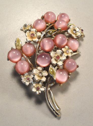 50's Flower Enamel Glass Moonglow Crystal Rhinestone Brooch