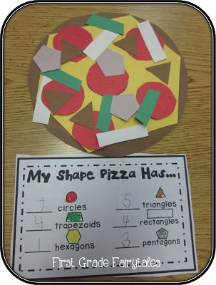 Shape Pizza: Kids make a pizza with shape toppings and then count and record the amount of each. #ece