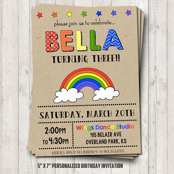 Rainbow birthday invitation personalized for by NiteLiteDesign