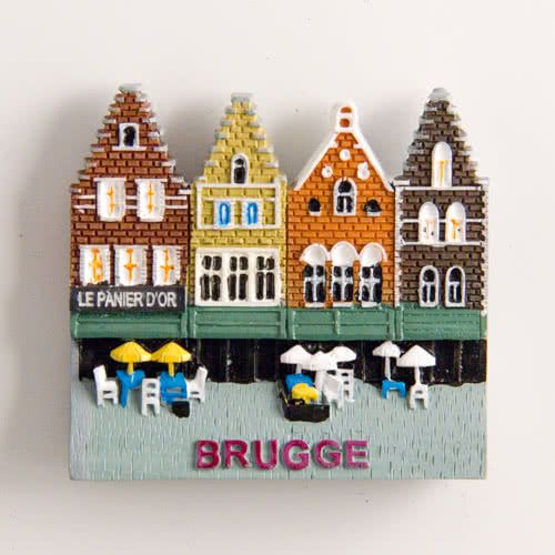 Resin Fridge Magnet: Belgium. Bruges Historical Houses