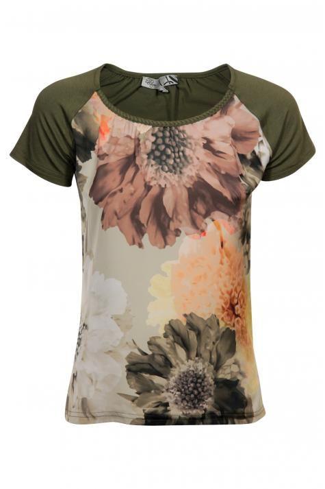 Vergroot - Kaki T-shirt met print