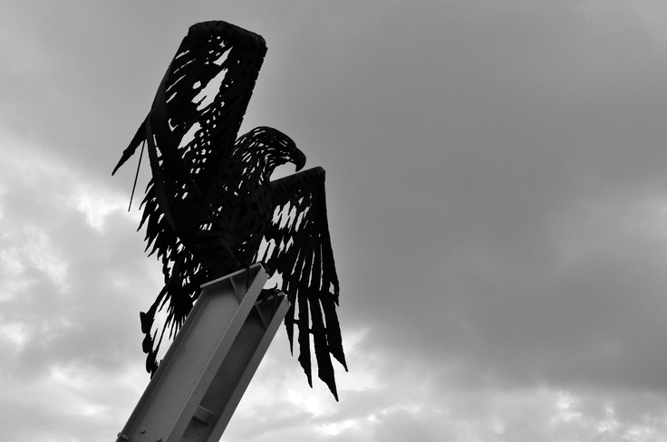 A sculpture of an eagle sits at the top of the lookout in Coolangatta watching over Kirra beach
