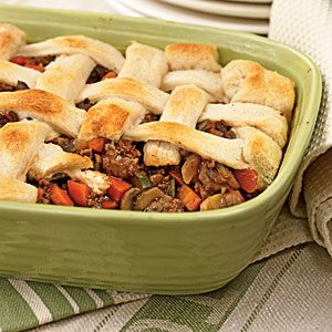 Beef and Vegetable Potpie. I would need to make some veg substitutions for allergies, but it looks like a nice, easy meal that I might get the offspring to eat...