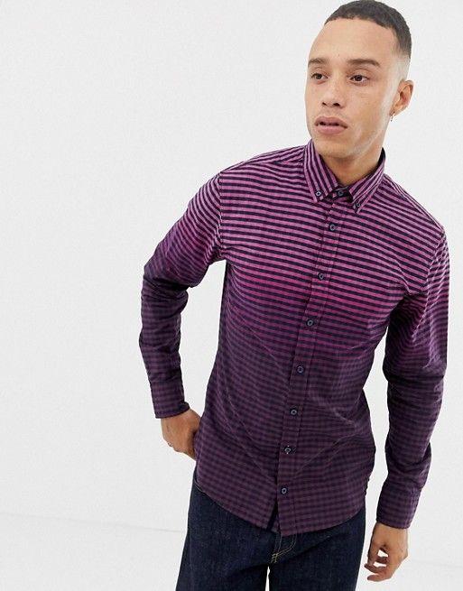 3d451c4b0 BOSS Mabsoot slim fit ombre oxford shirt in purple   asos men ...