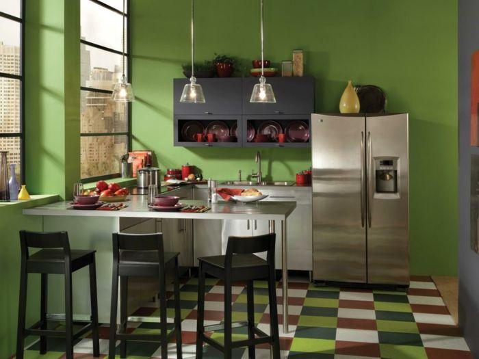 Wandfarbe Küche Grün Farbige Bodenfliesen Pendelleuchten