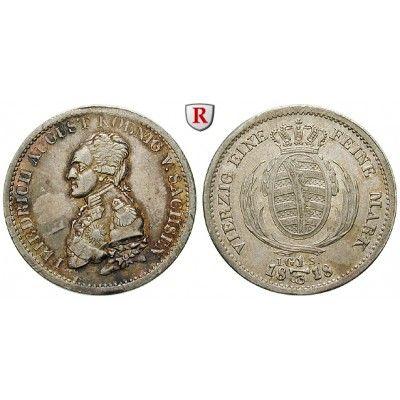 Sachsen, Königreich Sachsen, Friedrich August I., 1/3 Taler 1818, f.vz: Friedrich August I. 1806-1827. 1/3 Taler 1818 Dresden IGS.… #coins