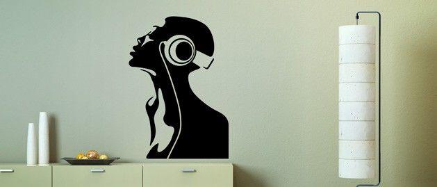 Žena a hudba (1092) / Samolepky na zeď, stěnu a nábytek