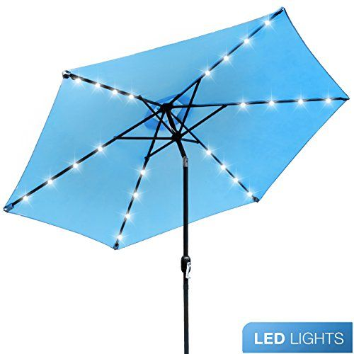 #Sorbus #LED #Outdoor #Umbrella, #10 #ft #Patio #Umbrella #LED #Solar #Power, with #Tilt #Adjustment and #Crank #Lift #System, #Perfect for #Backyard, #Patio, #Deck, #Poolside, and more #10 #FT #OUTDOOR #UMBRELLA (SOLAR #LED, AQUA) - Stay cool and comfortable outdoors with a beautiful #solar powered #patio #umbrella, #perfect for shade coverage - Features classic #crank operation with adjustable #tilt function (NOTE: #Umbrella BASE NOT Included) STYLISH #SOLAR #LED LIGHTING -