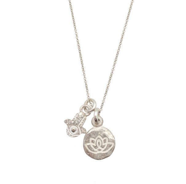 Living Beauty Double Charm Hamsa Necklace in Sterling Silver from Brevard