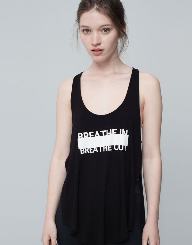 Pull&Bear - mulher - gymwear - t-shirt ginástica preta alças texto - preto - 09238339-I2015