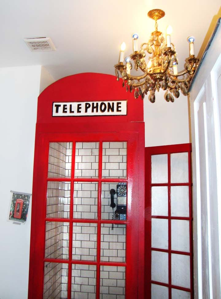 our shower made to look like a british phone booth!