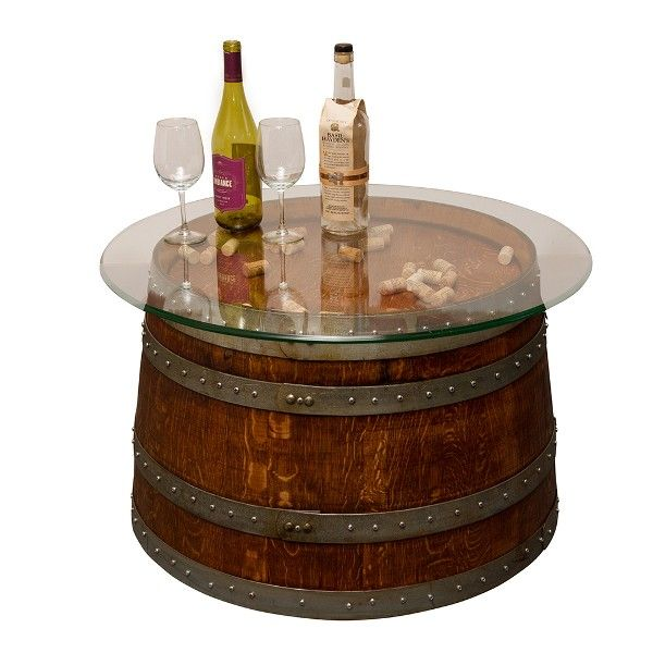 reclaimed half wine barrel coffee table with glass top arched table top wine cellar furniture