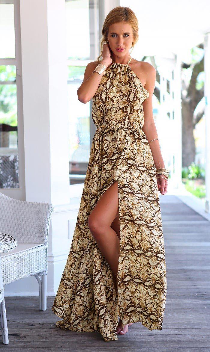 Новинка женщины длинное платье Sanke печать холтер спагетти ремни макси шифона платье сексуальный рукавов высокого сплит платья повязкикупить в магазине Sweet Life^_^наAliExpress