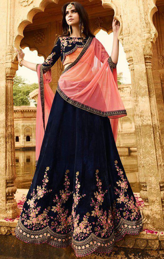Lush Midnight Blue Bridal Lehenga Choli
