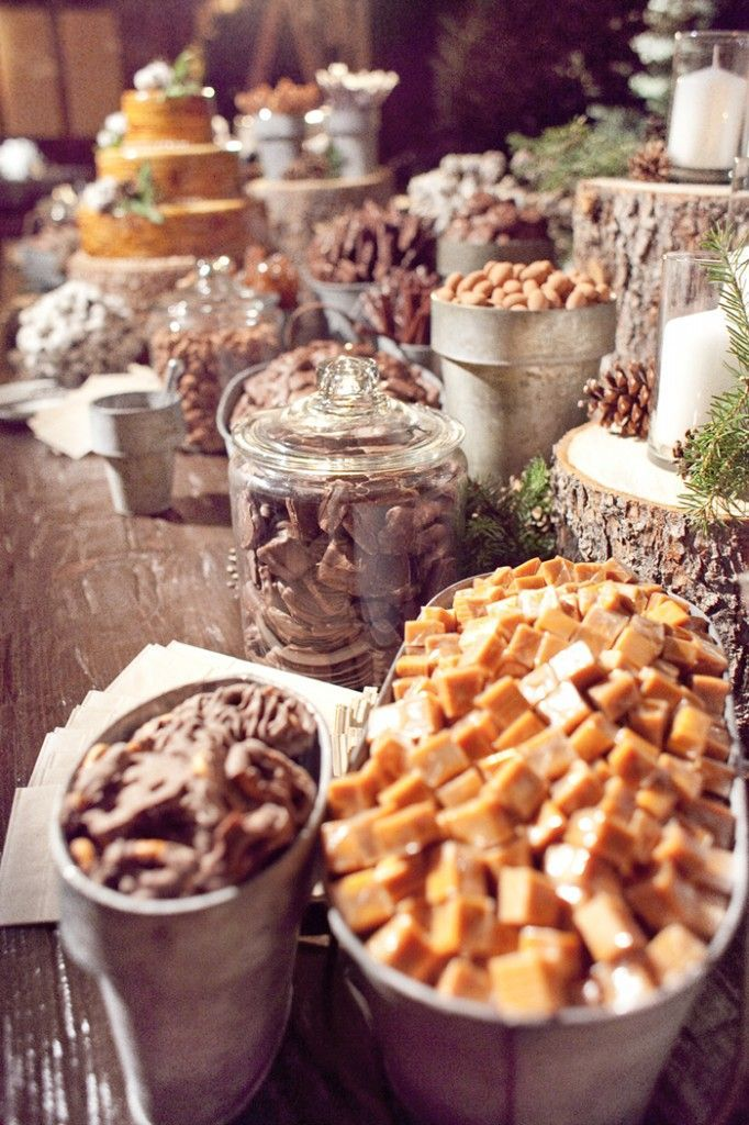 Rustic candy buffet, use galvanized silver buckets to hold candy