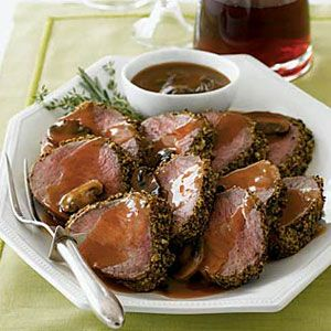 Whole-grain mustard and Madeira sauce take #beef tenderloin to the next level. #dinner #recipe
