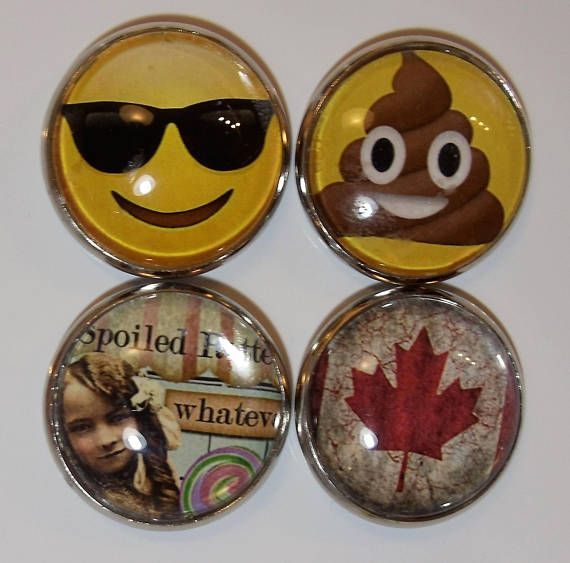 Spoiled Rotten Emoji and Flag One Inch Refrigerator Magnets
