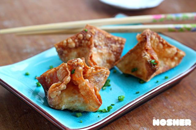 Schmear Rangoon (a kosher version of Crab Rangoon with smoked salmon ...