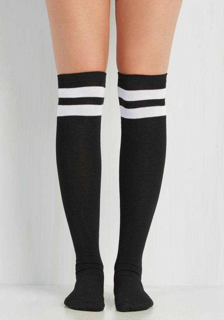 Sport and Sweet Thigh Highs in Black. Add an air of athleticism to your ensemble when you opt to flaunt these sporty thigh highs! #white #modcloth