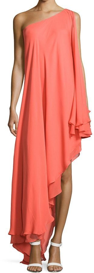 Awesome on a tanned skin - Halston Heritage One-Shoulder Silk Cascade Gown, Tangerine