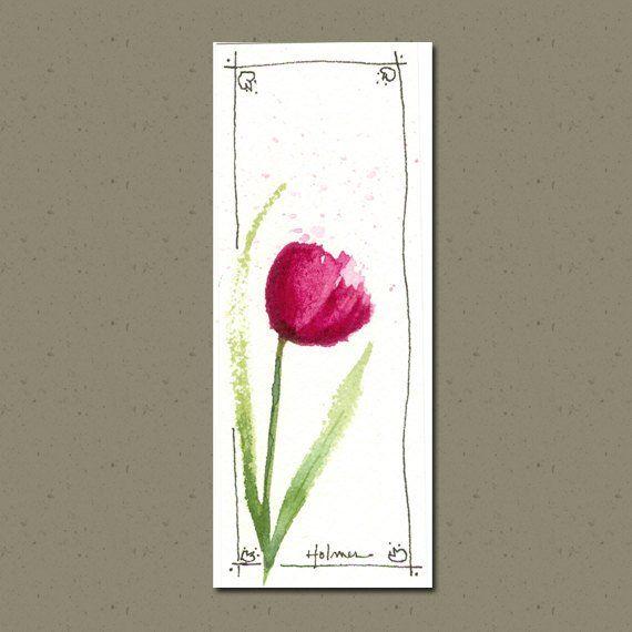 Spring Tulip Watercolor Bookmark, Watercolor Bookmark Print, Tulip Watercolor Bookmark, Spring Flowe