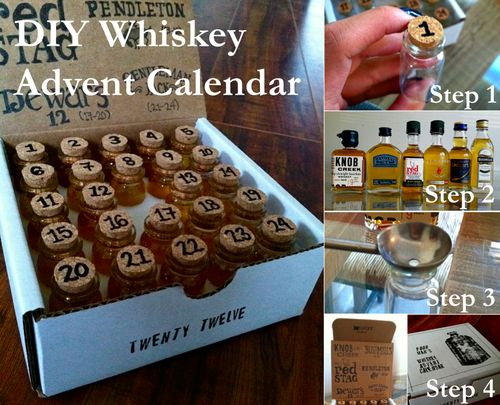 DIY Whiskey Advent Calendar: My boyfriend was considering purchasing a $240 whiskey advent calendar for himself (found here). I thought it w...