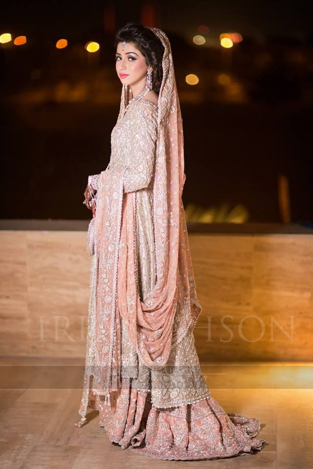pink wedding dress with silver embroidery | pakistani lehenga with tail | nikah / walima dress | irfan ahson photography | bridal photography