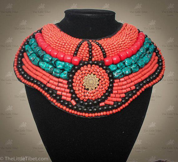 A medium size Tibetan necklace  a beautiful by TheLittleTibet #yakbone #turquoise #tibetan #mala #prayer #necklace #coral #inspired #buddhist #artisan #handicraft #beads #ethical #bohemien #independence #lhasa #thelittletibet