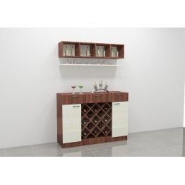 Maribo bar cabinet with stylish structure. Made up of plywood with laminate finish. This bar unit incorporates multiple racks, cabinets, drawers offering great storage. Add this bar cabinet to the living room or dining space and make it easy to serve your guests. This contemporary unit offers modish look ample space for storage.