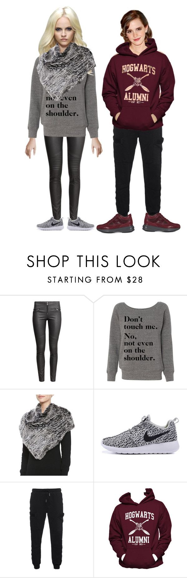 """""""Satinee girls in winter clothes!"""" by smileyamz ❤ liked on Polyvore featuring H&M, Jocelyn, Emma Watson, True Religion, Hanes and Hogan"""