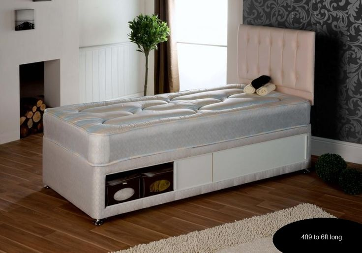 3ft Hilton Divan - £249.95 - The Hilton Divan is a superb divan set and has been a popular choice so due to demand for a shorter version we have introduced this model in lengths from 4ft9 to 6ft.  The mattress is deep and plush for a softer than average feel which is very popular for children who would not benefit from a firm feel. It is upholstered in a damask fabric with anti allergenic fillings on both sides.
