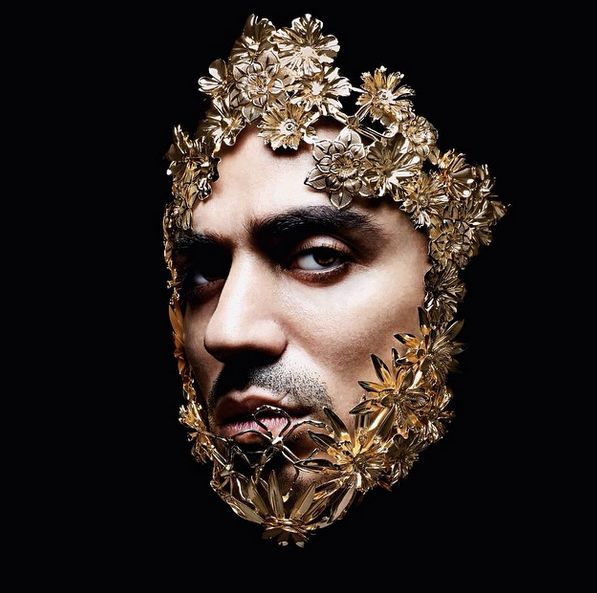 Marracash on the cover of his new album 'Status' wearing emanuele bicocchi handmade metal mask. Photo credit: Giovanni Gastel #status #marracash #emanuelebicocchi #gastel