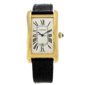 LOT:81 | CARTIER - an 18ct yellow gold Tank Americaine wrist watch.