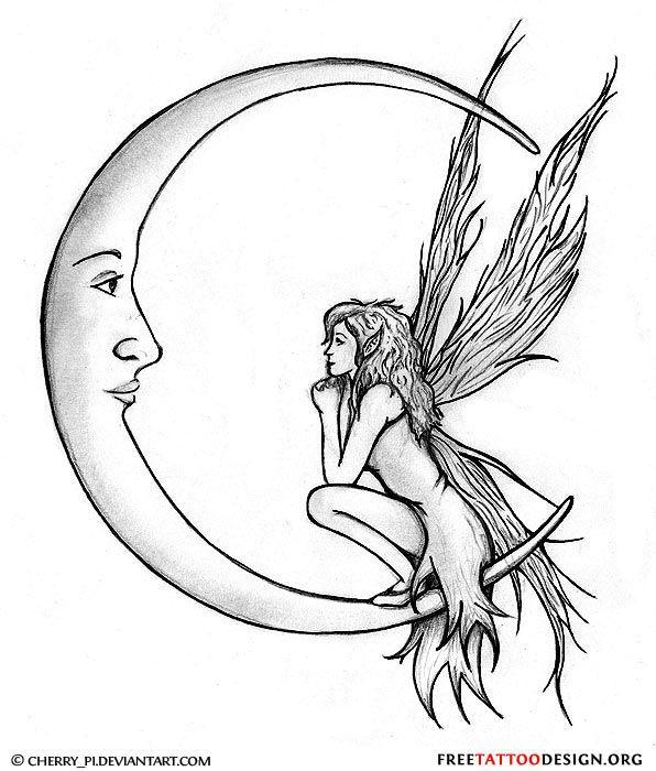 Black Fairy On Crescent Moon Tattoo Stencil Photo - 2: Real Photo ...