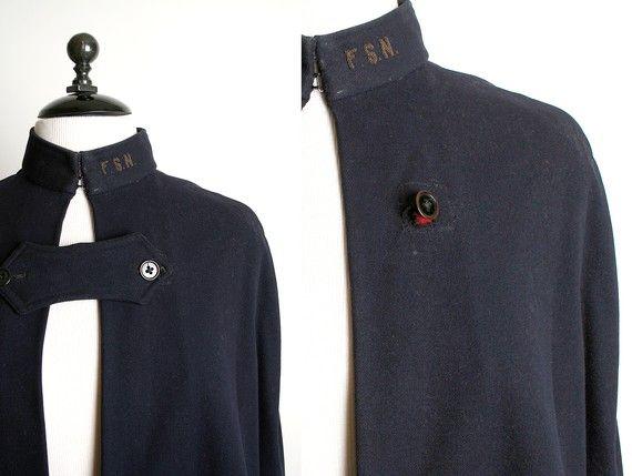 Dark Navy Blue Vintage WWII 1940s Nurse Cape Coat