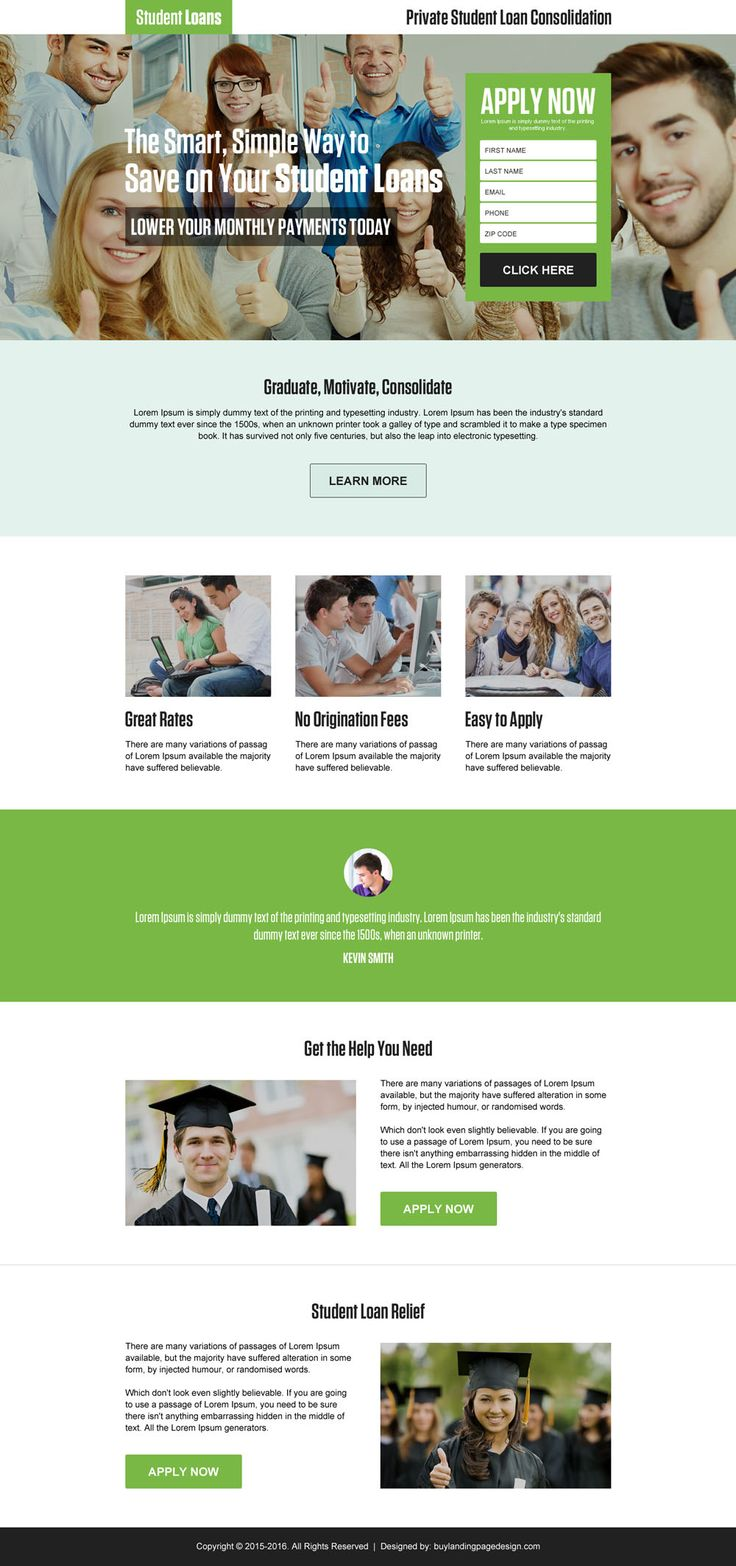 student loan consolidation lead generating responsive landing page
