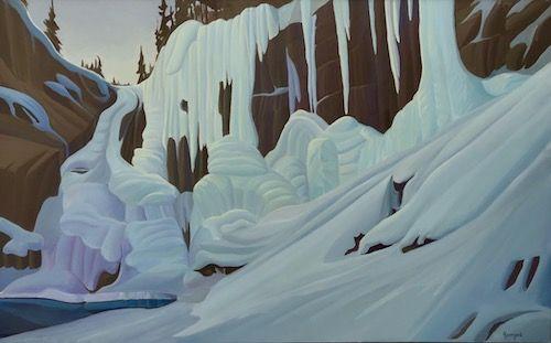 Ken Harrison - Johnston Canyon Icefalls 30 x 48 Oil on canvas
