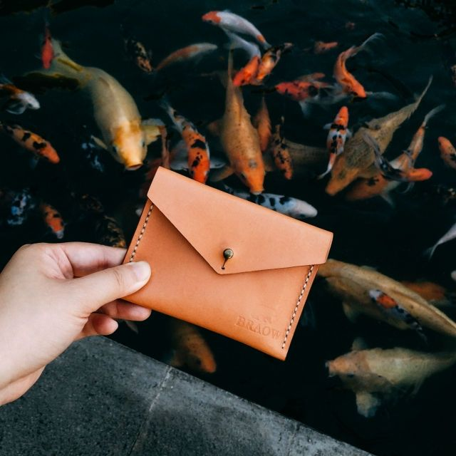 Hand made Simple Leather card pouch. Clementine can carry up to 12 cards and money.   100% handmade & handstitched Italian waxed thread