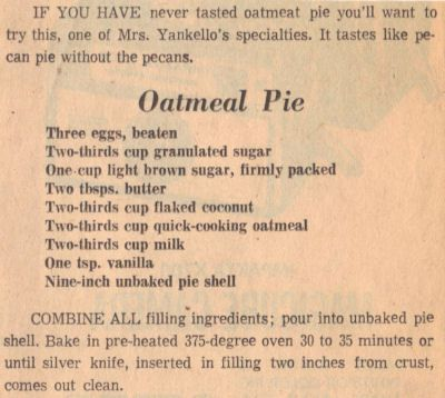 Vintage Recipe Clipping For Oatmeal Pie