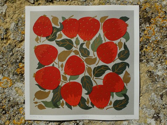 #Apples #letterpress #giclee #print #original #RebekaMolnar #Whittington #press #fruit #star #summer #walldecor #papercut #cutoutpaper #giclee #art #archival #red #leaf #gold #golden #ink #mebekka #Presstival #etsy #shop