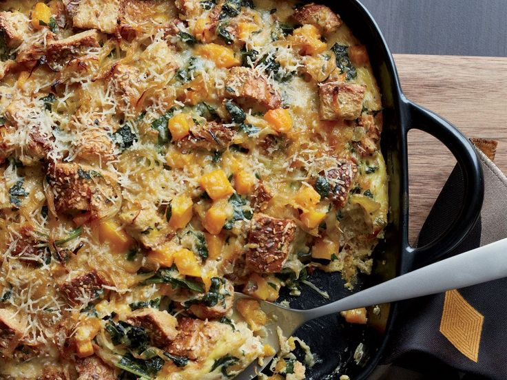 Butternut Squash and Kale Strata with Multigrain Bread | Multigrain bread adds a distinct flavor to this creamy, satisfying breakfast casserole.