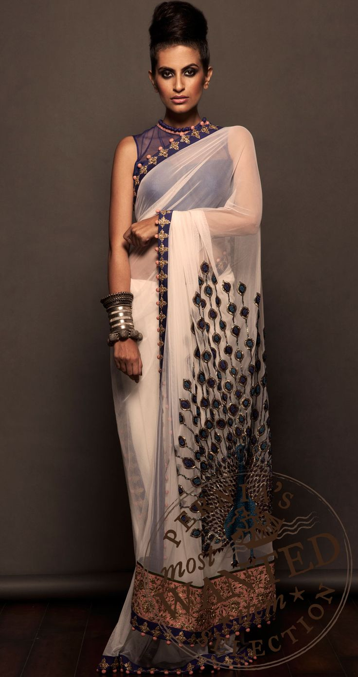 off white net saree available only at Pernias pop-up shop.