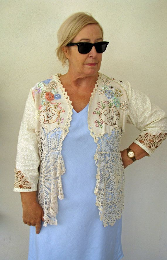 Summer Garden  Plus Size Bohemian Upcycled Couture by Fabricoria